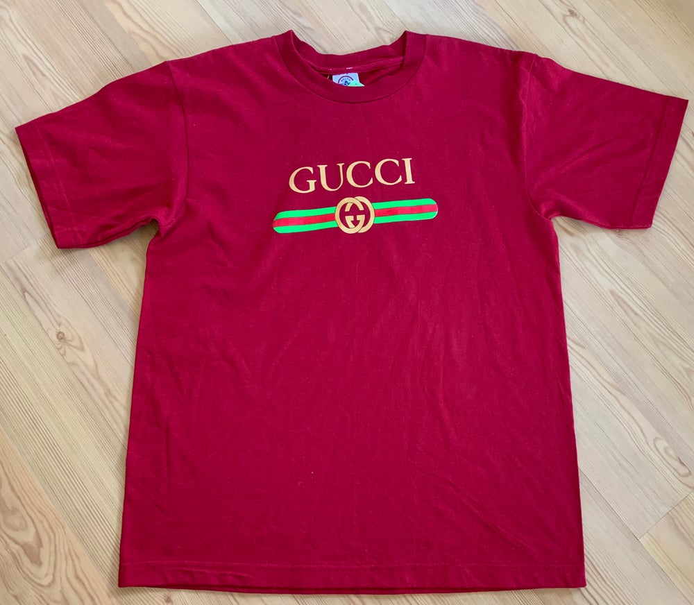 Image of Vintage Double G Box Logo Wine Red T-Shirt Sz XL