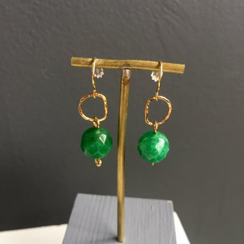 Image of Afiok beaded hook earrings- Jade
