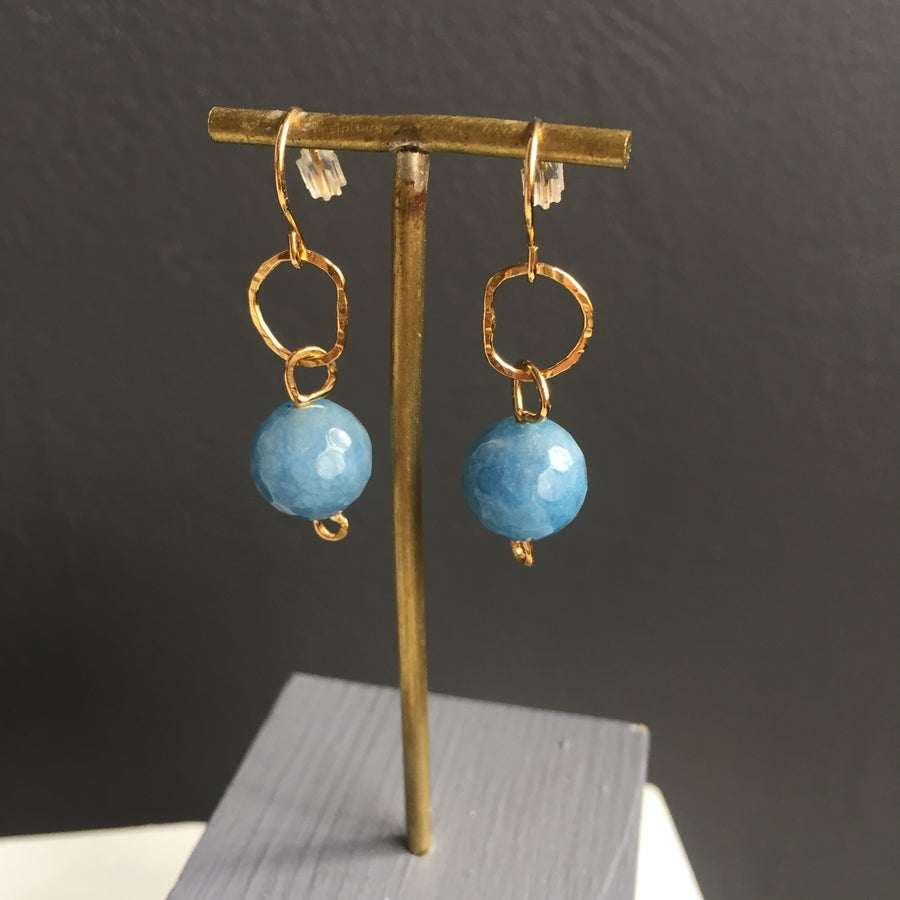 Image of Afiok beaded hook earrings - blue Quartz