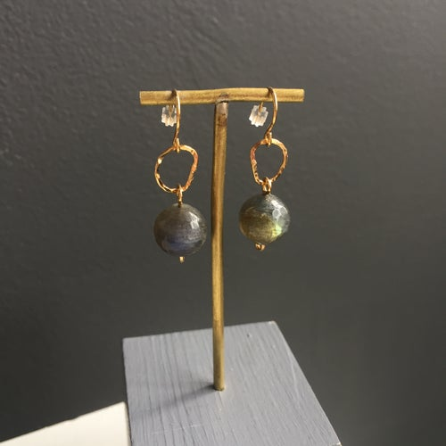 Image of Afiok beaded hook earrings- Labradorite