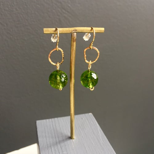 Image of Afiok beaded hook earrings- green Quartz