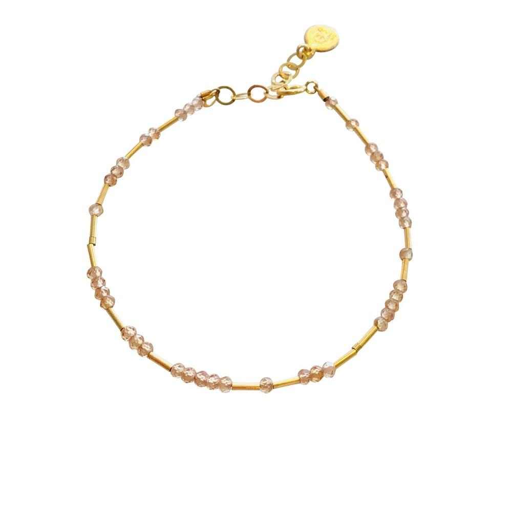 Image of Gold Filled Station Bracelet Pink Tourmaline