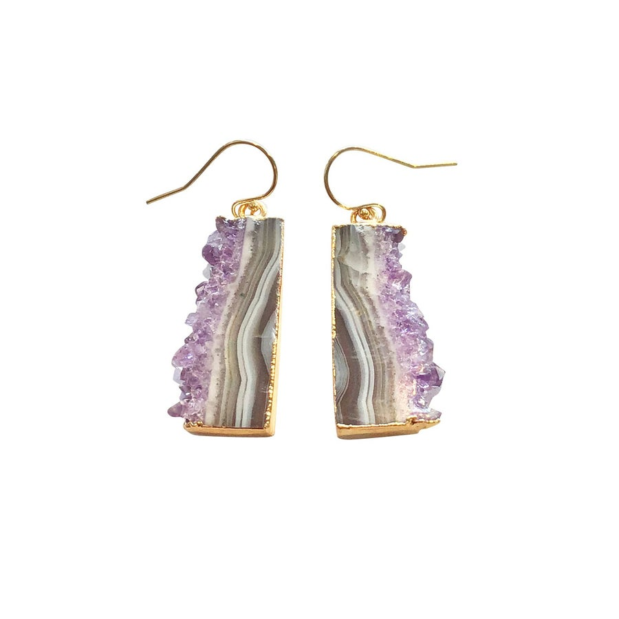 Image of Gold Dipped Amethyst Earrings with Gold Filled Wire