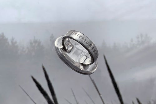 "Image of ""From the exterior to the interior"" silver ring with citrine · AB EXTERIORIBUS AD INTERIORA ·"