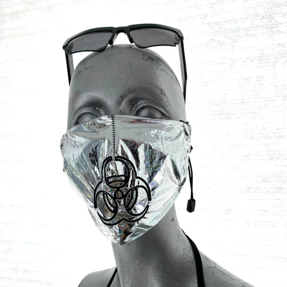 Image of Covid19 : hazmat embroidery mask / silver ( 20% off discount )
