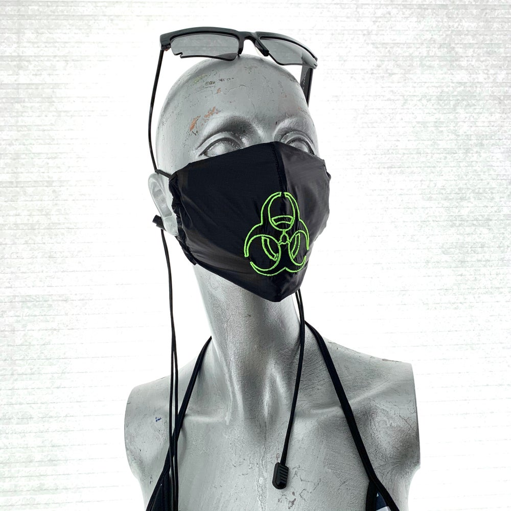 Image of Covid19 : hazmat embroidery mask / black ( 20% off discount )