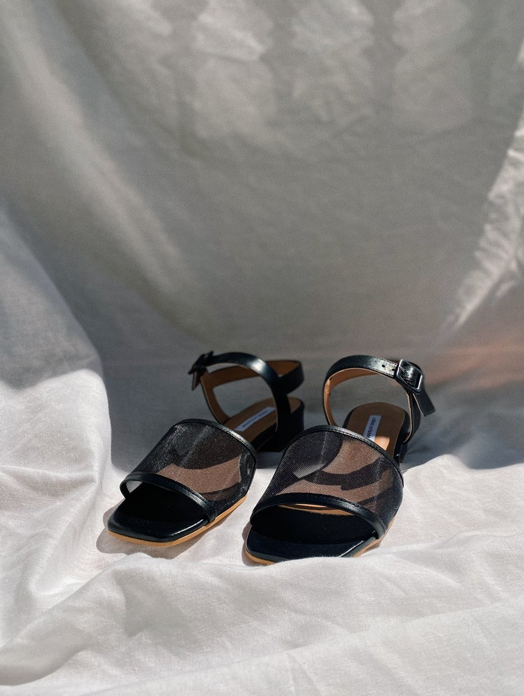 Image of MARINI mesh black sandals About Arianne