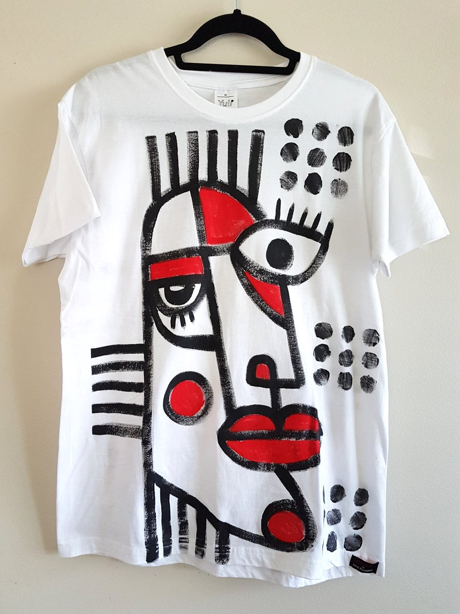 Image of hand painted white t-shirt