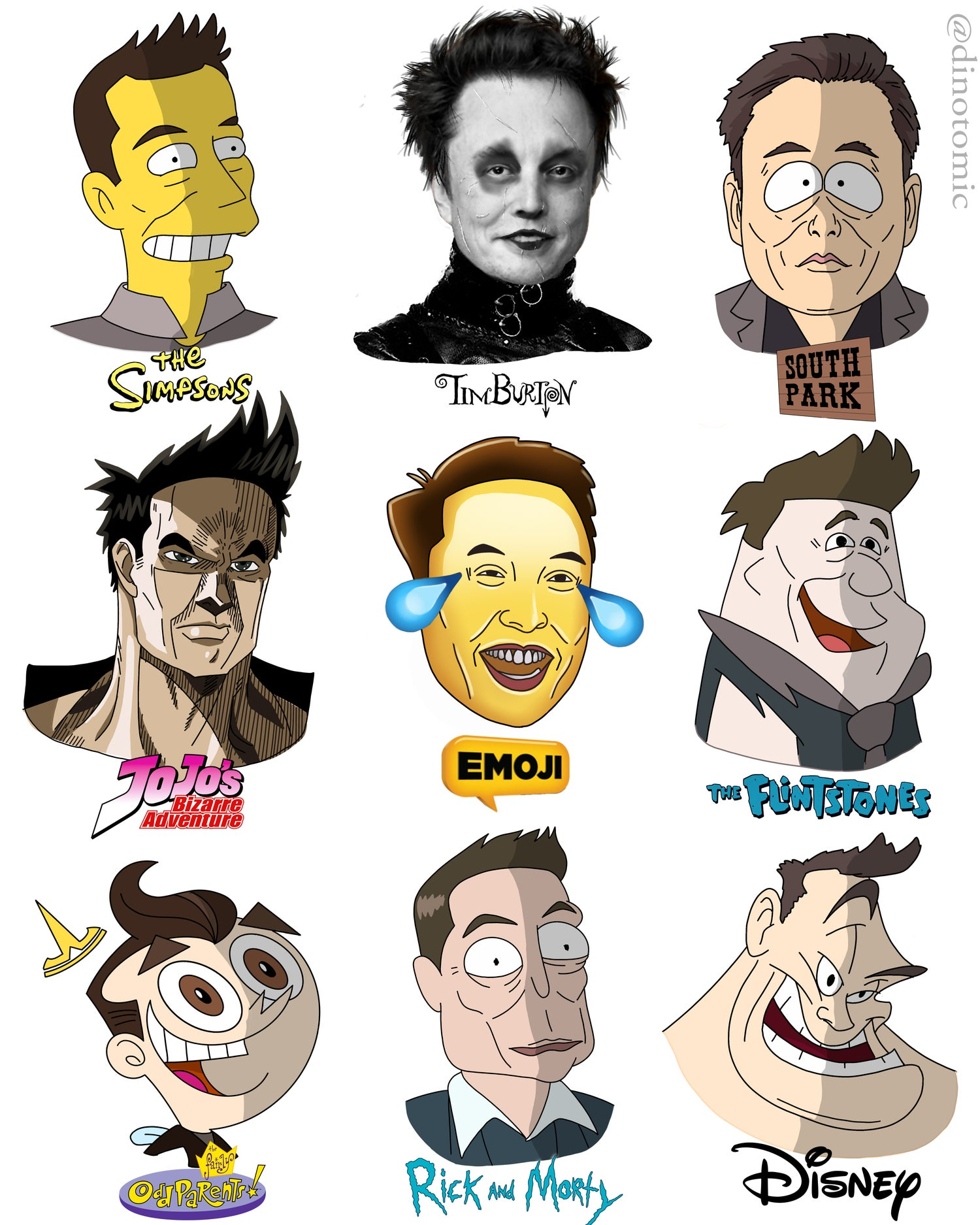 Image of #179 Elon Musk different styles