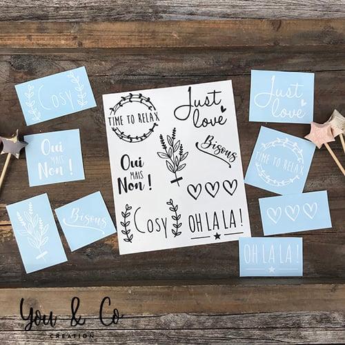 """Image of Planche de 8 stickers """"Petits mots"""" (version 2)"""