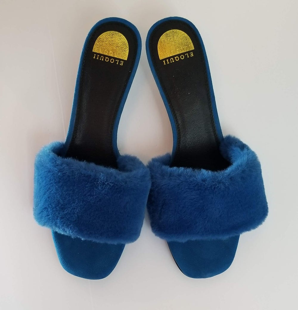 Image of Eloquii Fur Kitten Heel Slippers Women's Shoe Size 12 Wide