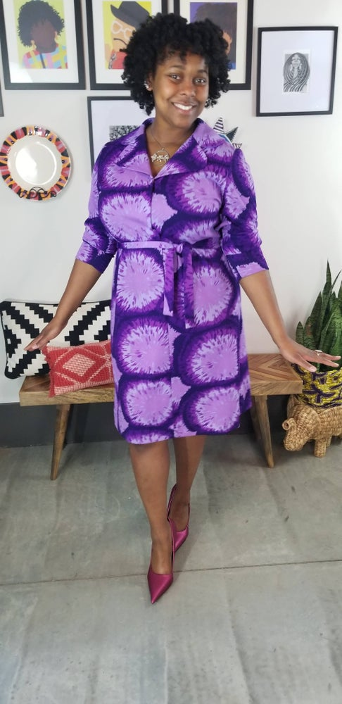 Image of 1960's Purple Tie Dye Print Shift Dress Size 1X/2X Plus Size Vintage