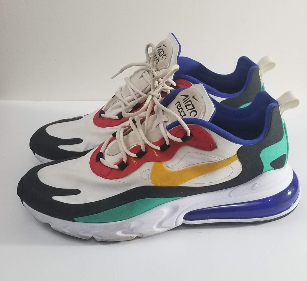 Image of Nike Air Max 270 React Bauhaus Phantom/Red/Black/University Gold Men's Shoe Size 10/Women's Size 12