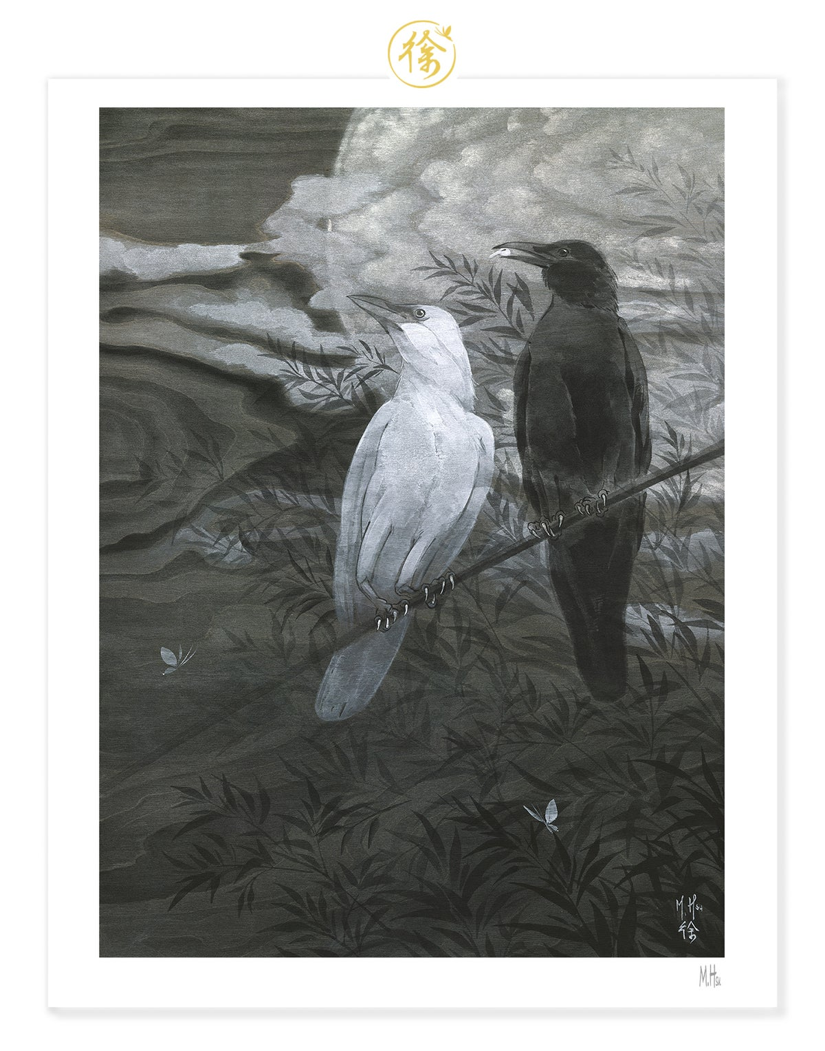 LTD Print - Crows and Silver Moon