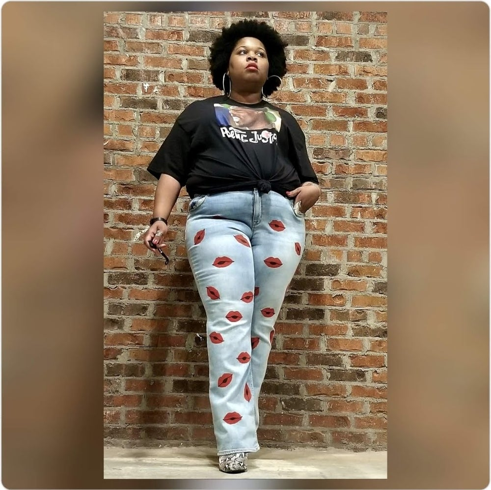 Image of Hand Painted Lip Print Plus Size Jeans