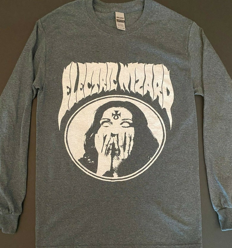 "Image of Electric Wizard "" Inverted Ankh Girl "" Gray LongSleeve T-shirt"