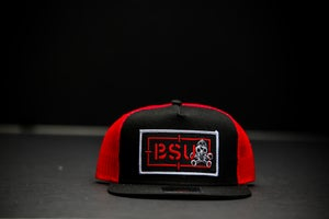 Image of Red/Black 5 panel Recon Patch hat w/Skatepunks underbill print