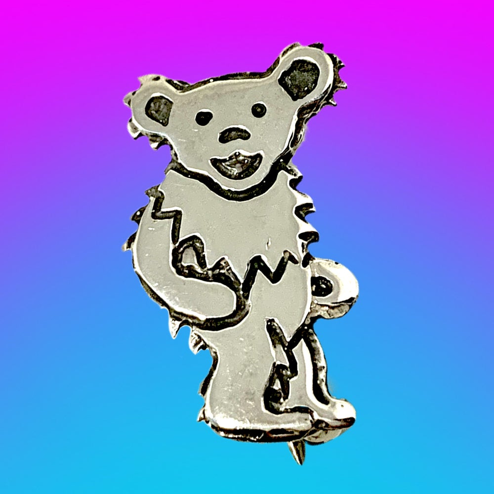 Image of Dancing Bear Pin Cast in Sterling Silver