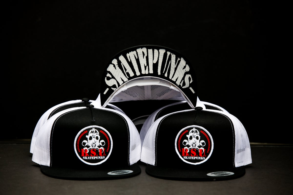 Image of Black/White 5 panel Recon Skatepunks Patch mesh snapback hat w/Skatepunks under bill print