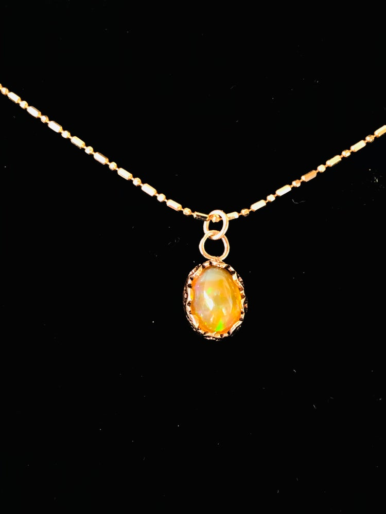 "Image of ""Sun Drop"" Mexican Fire Opal in Gold"