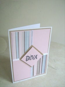 Image of DIVA in Pink and Brown All O ccasion Greeting Card