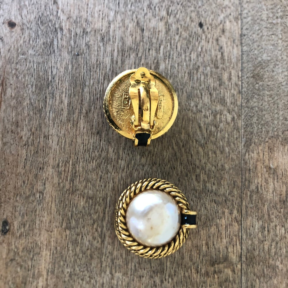 Image of Authentic Chanel gold tone/pearl Earrings