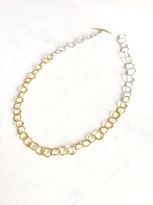 Image of Afiok single lenght necklace- sterling silver with 24ct yellow gold vermeil