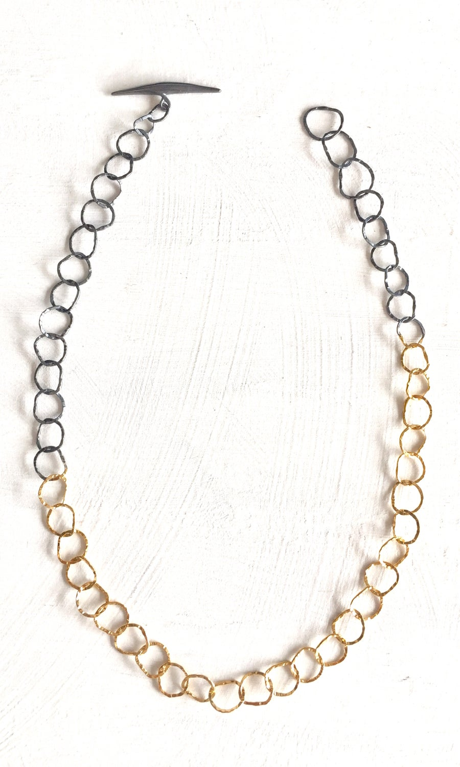 Image of Afiok single necklace combination oxidised silver with gold vermeil
