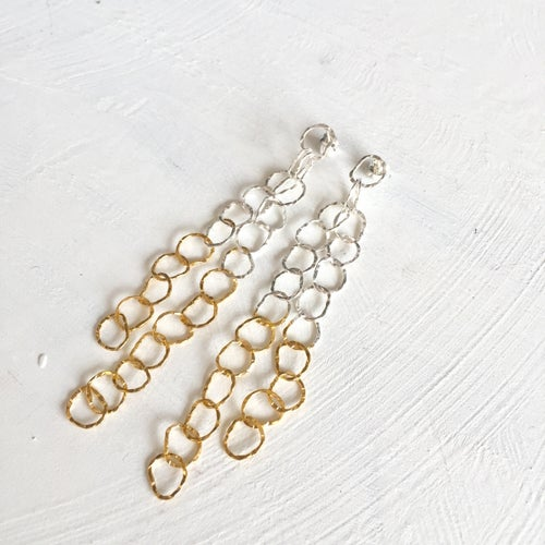 Image of Afiok cascade earrings- sterling silver & gold vermeil