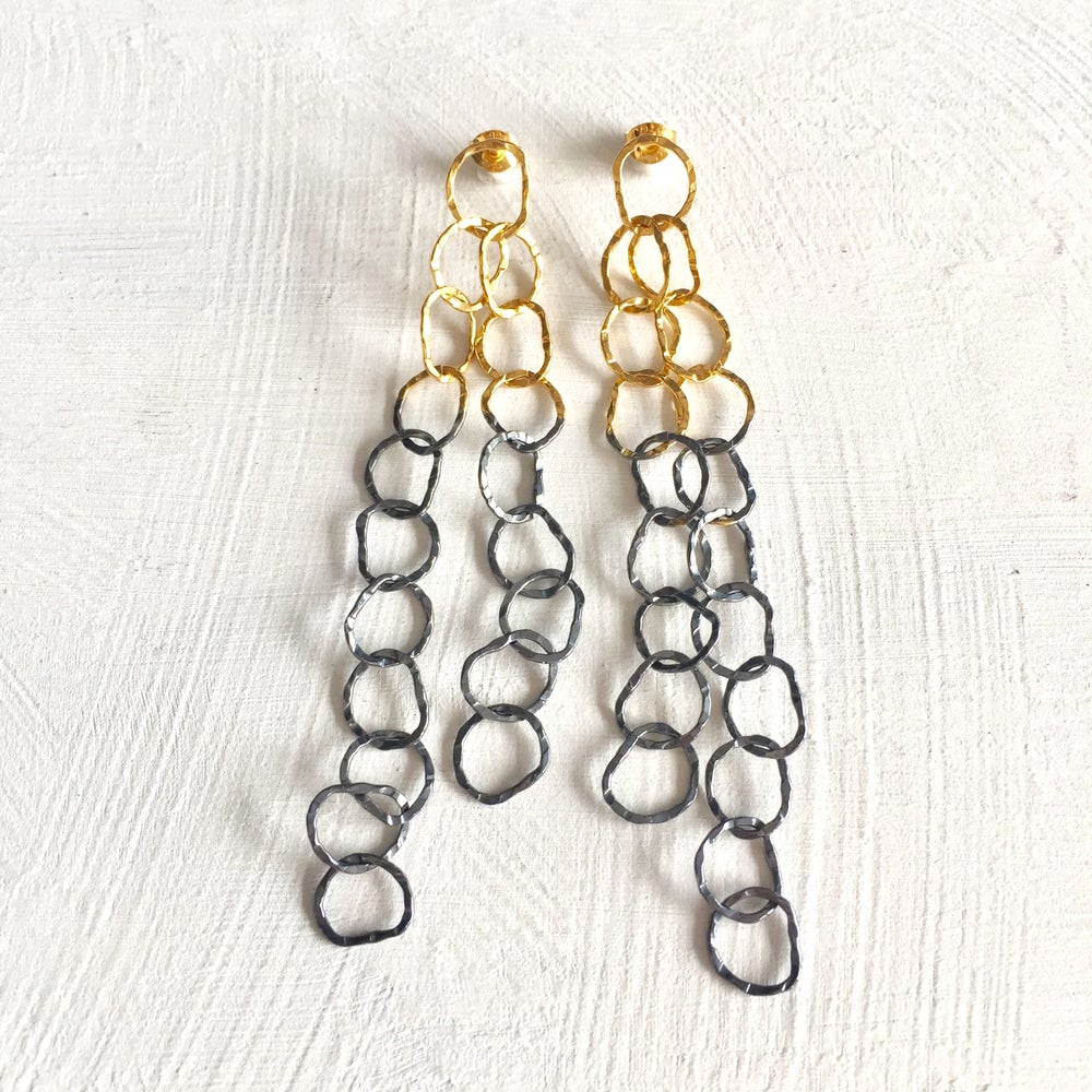 Image of Afiok cascade earrings- oxidised silver & gold vermeil