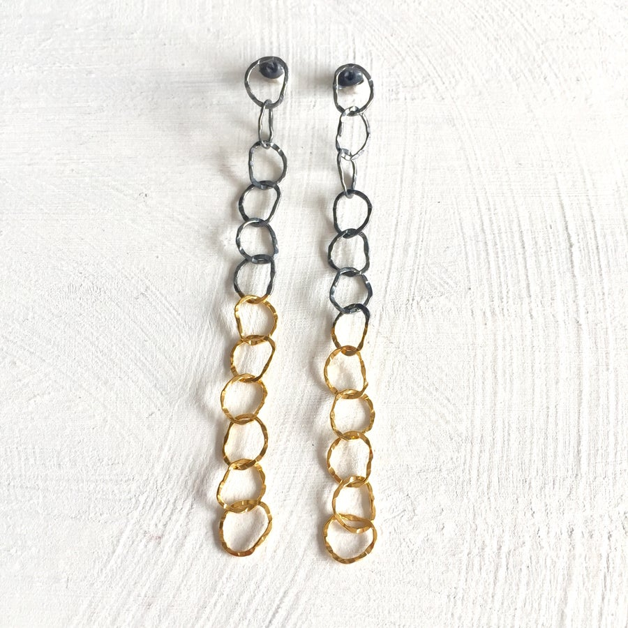 Image of Afiok 12 link earrings- oxidised silver & gold vermeil