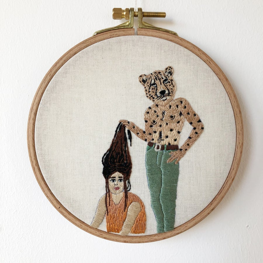 Image of The Cheetah Man - hand embroidery wall art, adaptation on Bruce Davidson photography