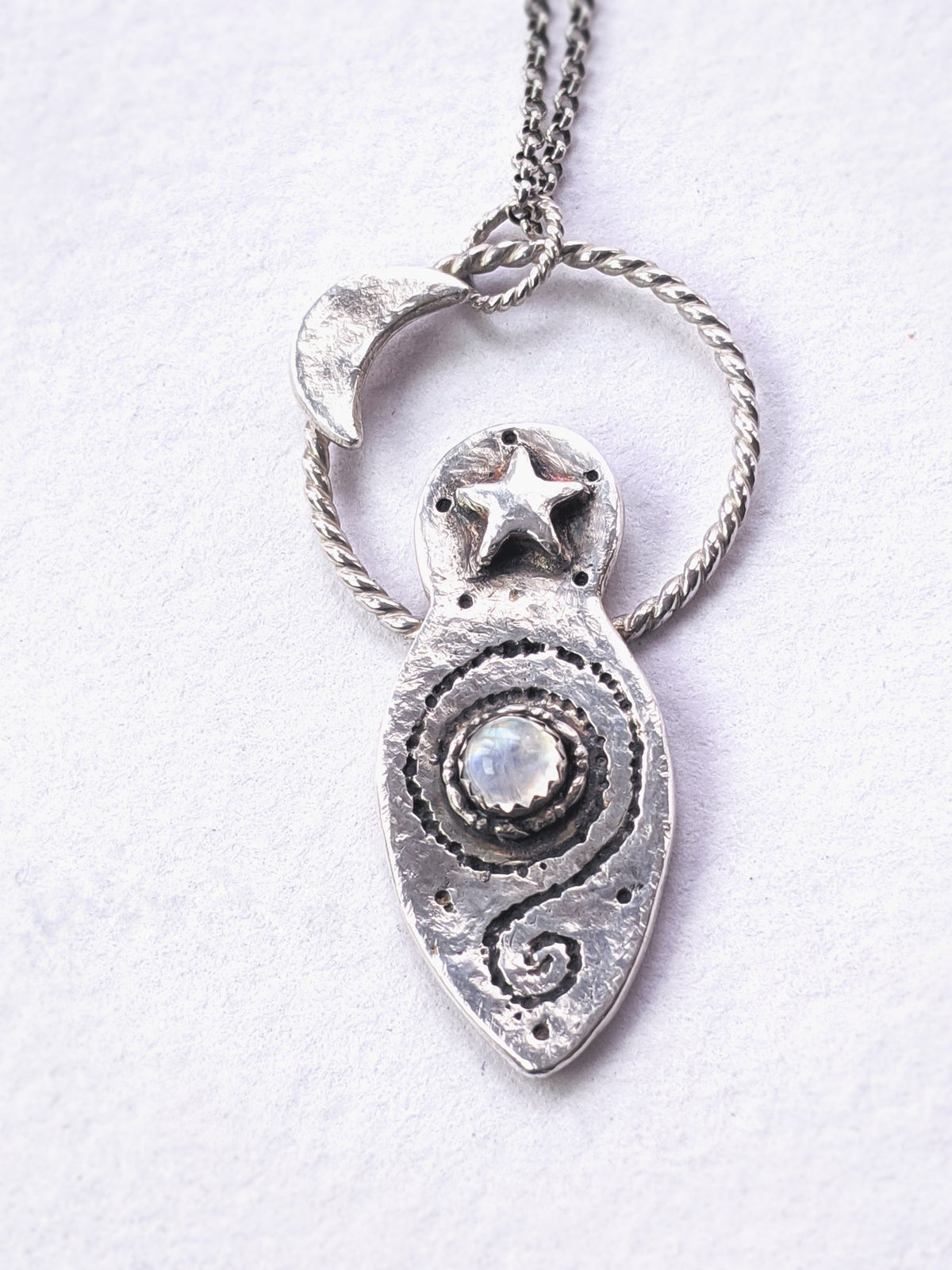 Moon Goddess recycled silver and moonstone pendant