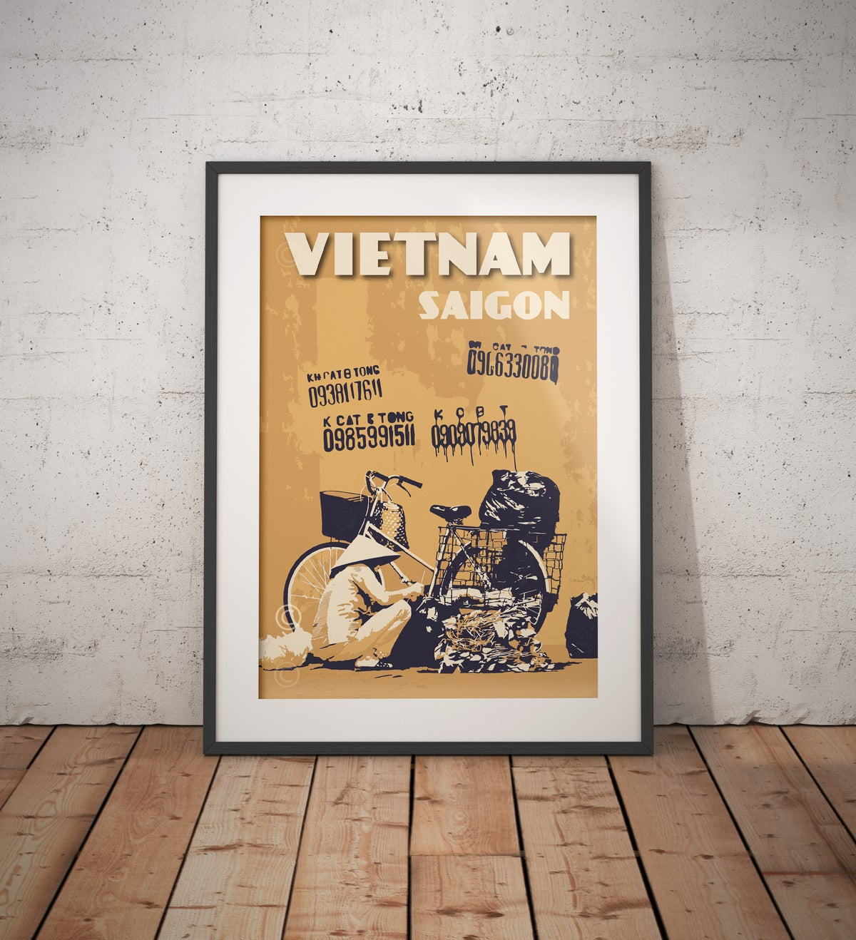Image of Vintage poster Vietnam - Saigon yellow wall with graffiti - Fine Art Print