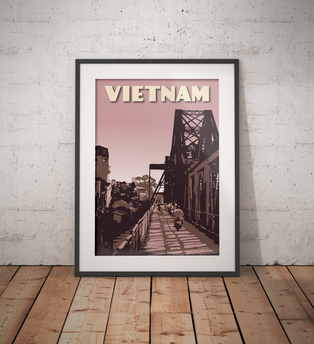 Image of Vintage poster Vietnam - Hanoi Long Bien Bridge - Fine Art Print