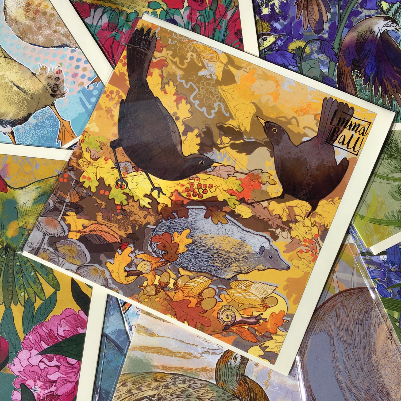 Image of Greetings Card - Black Birds Harvest