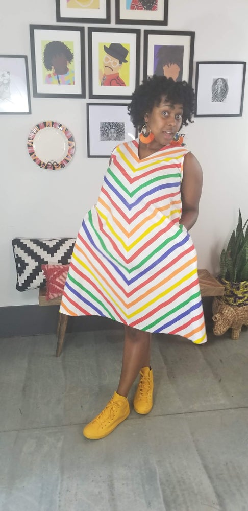 Image of 80's Rainbow Stripe Trapeze Dress Women's 1X Plus Size