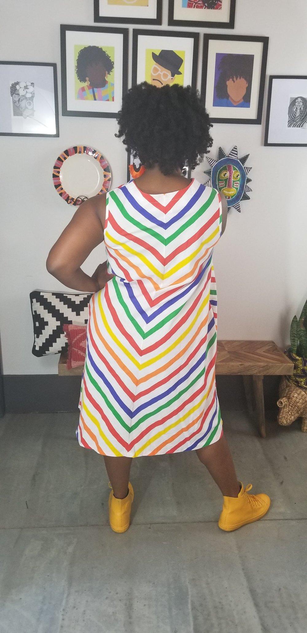Image of 80's Rainbow Stripe Trapeze Dress Women's 1X Plus Size