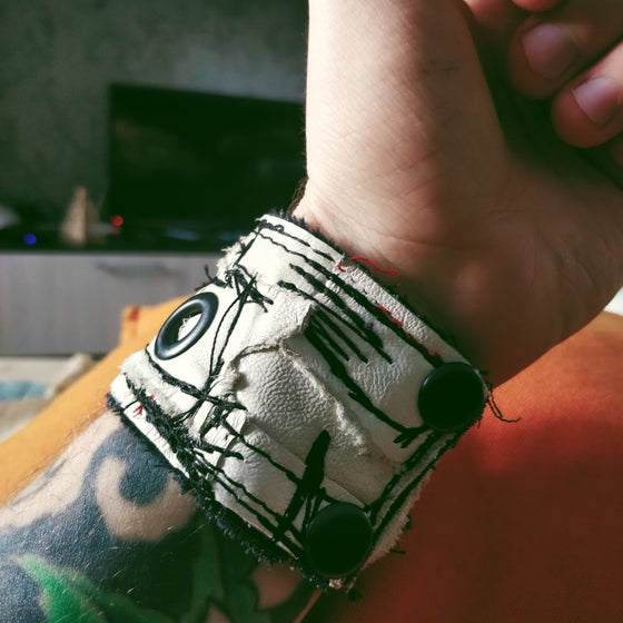 Image of White leather cuff