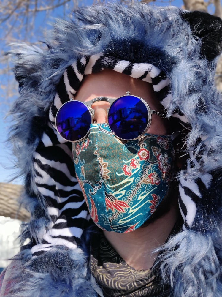 Image of Cabin Fever Cotton Mask Teal