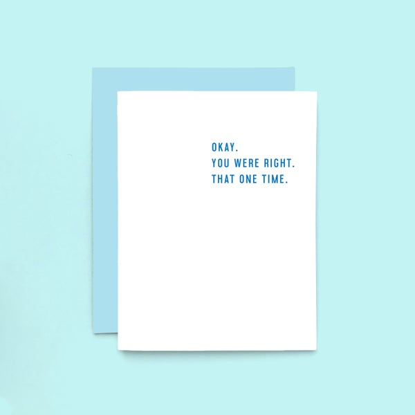 Image of you were right letterpress card - funny anniversary card - apology card