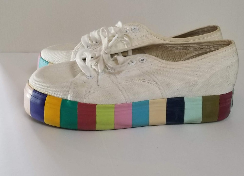 Image of Superga Rainbow Platform Canvas Sneakers Women's Size 10/11