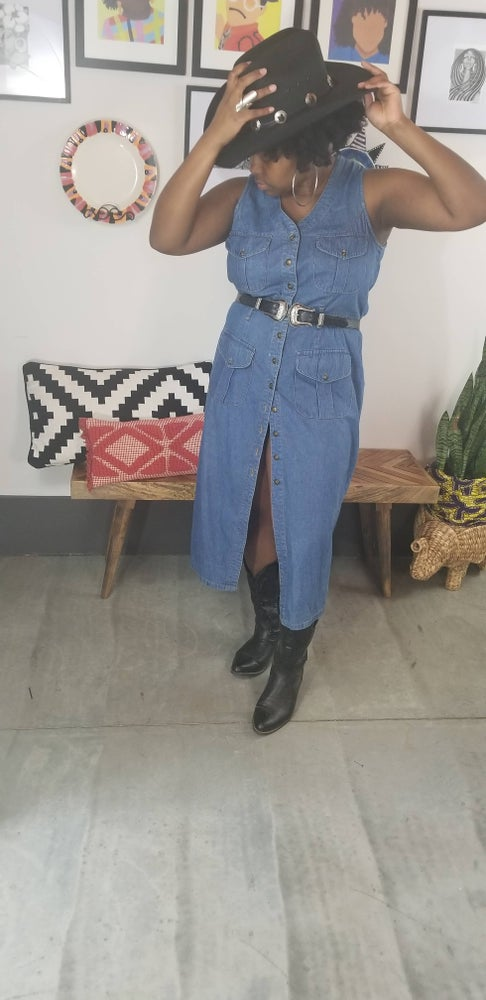 Image of 90's Button Down Denim Dress Plus Size 18