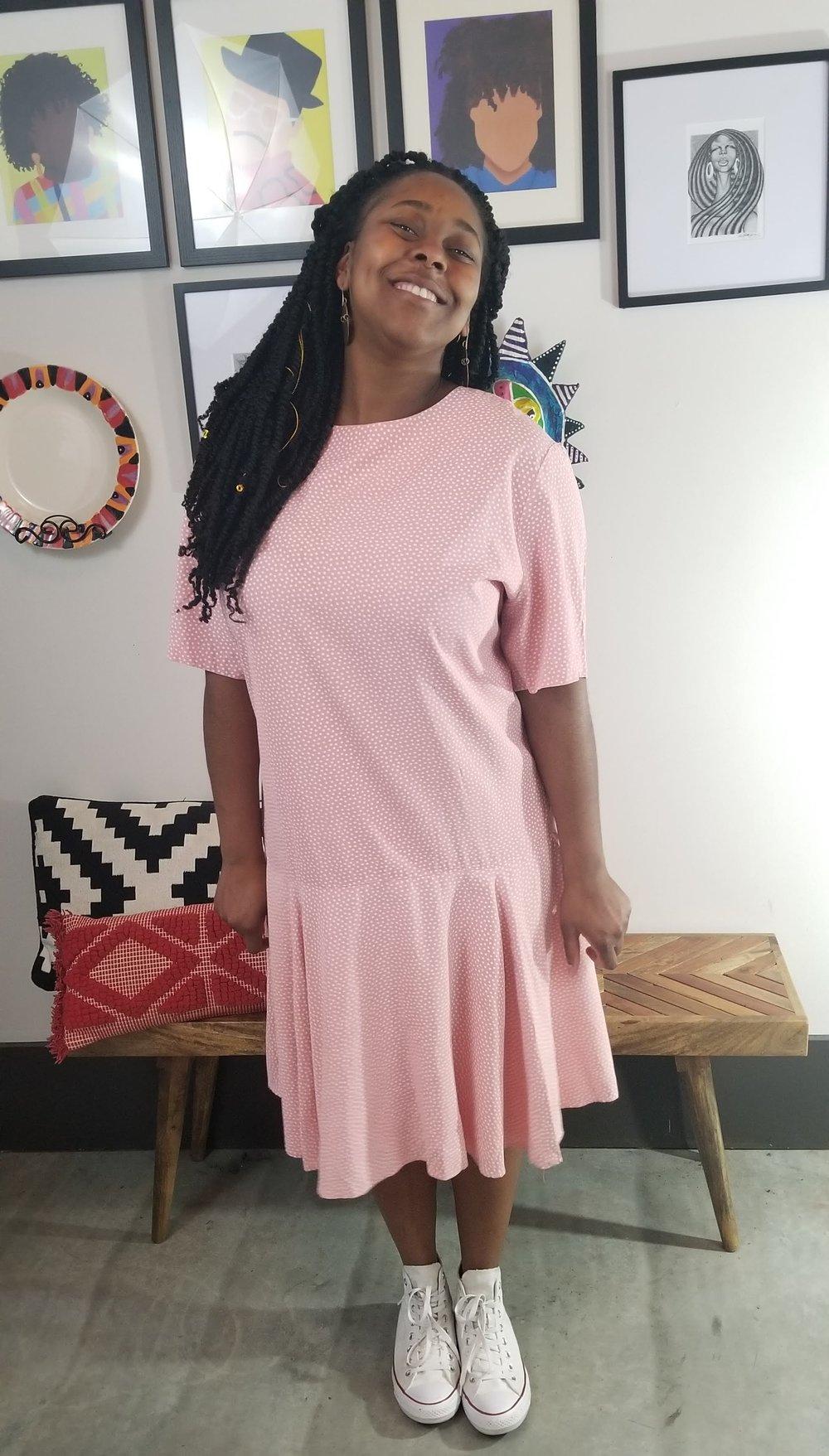 Image of 90's Drop Waist Pink Polka Dot Dress Women's Plus Size 2X