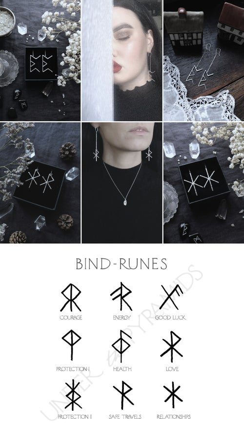 Image of NORNIR. BIND RUNE EARRINGS ↟ sterling silver - any bindrune: love, luck, health, protection ...