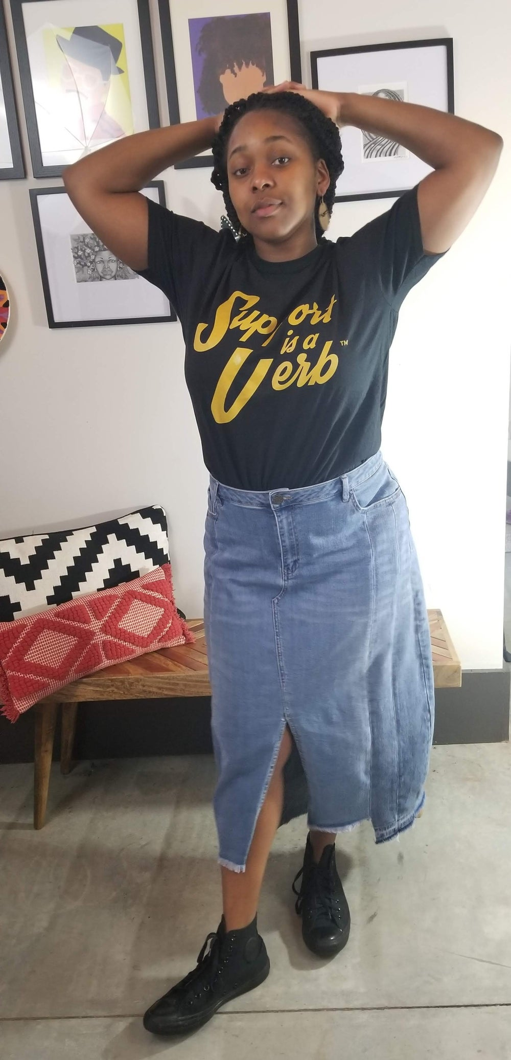 Image of Support Is A Verb Graphic Tee XL/Women's Plus Size 1X