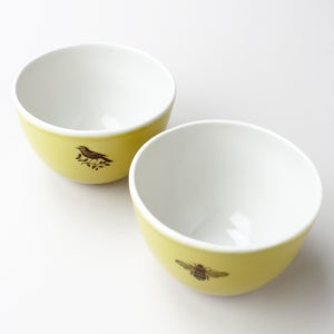Image of roly soup/cereal/yogurt bowls, set of two, with warbler and bumblebee