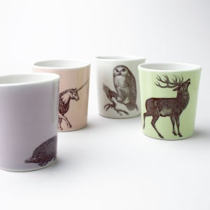 Image of set of four 12oz tumblers, woodland creatures