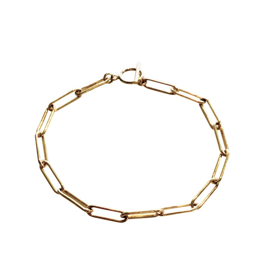 Image of Paper Clip Chain Bracelet with Toggle Clasp