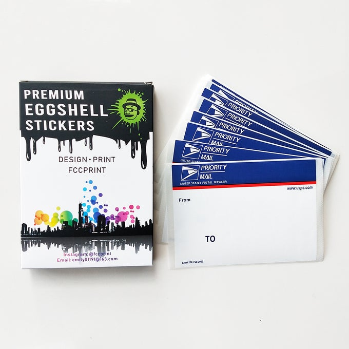 """Image of Free shipping 50pcs/100pcs Blue Top Priority Mail Eggshell Stickers For Sale Size 4.5""""x3.25"""""""